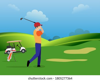 The young man exert himself to hit the golf ball as far as possible on the golf course.