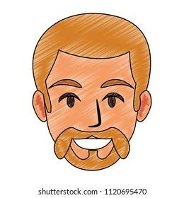 Young man face cartoon
