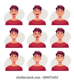 Young man face expression, set of cartoon vector illustrations isolated on gray background. Handsome boy emoji face icons, human expressions, set of male avatars with different emotions