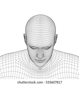 Young man face portrait. 3d wireframe head vector illustration