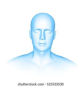 Young man face portrait. Front view. 3d head vector illustration, blue color
