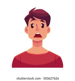 Young man face, surprised facial expression, cartoon vector illustrations isolated on white background. Handsome boy emoji surprised, shocked, amazed, astonished. Surprised face expression