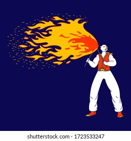 Young Man Fakir Character Dancing and Juggling with Fire on Stage Performing Talent Show Program for Judges and Viewers. Flame Entertainment, Street Fair, Circus Amusement. Linear Vector Illustration