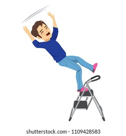 Young man falling from ladder having an accident