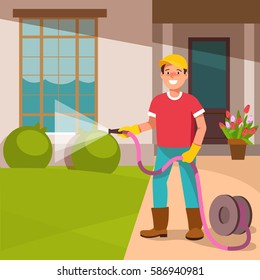 The young man father standing in the courtyard of his houses, watering the lawn. home and garden improvement.Landscape Gardener works. Vector illustration in flat style