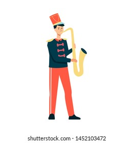 Young man in festive parade costume playing music with saxophone in flat style isolated on white background. Vector illustration of male musician from marching band on holiday.