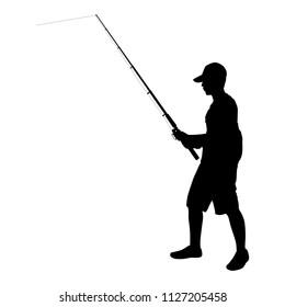 Young man with fishing pole in hand silhouette vector