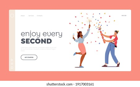 Young Man and Girl Celebrate, Landing Page Template. Happy Couple Male and Female Characters Burning Sparklers and Drinking Champagne during Holiday Celebration. Cartoon People Vector Illustration