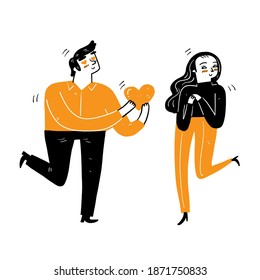 A young man gives a big heart to a young woman with love, Love concept of couple, Vector Illustration cartoon doodles style