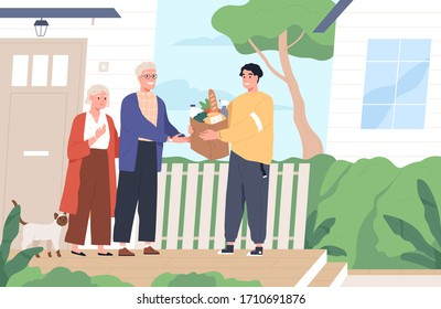 Young man giving a bag of groceries to elderly couple. Shopping help and delivery service. Volunteer support seniors during coronavirus outbreak. Vector illustration in flat cartoon style