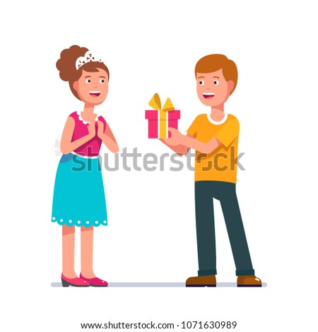 Young Man Giving Woman Birthday Valentine Stock Vector Royalty Free