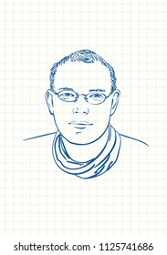 Young man in glasses, Blue pen sketch on square grid notebook page, Hand drawn vector illustration
