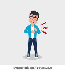 Young man with glasses having heart attack. A character holding his chests with painful facial expression. Cardiovascular disease symptoms. Chest pain, chest ache, discomfort, concept.  Vector, flat.