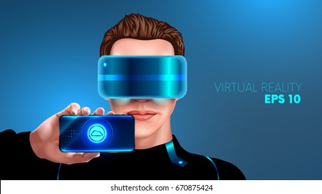 young man with glasses virtual reality ( vr glasses) shows the screen of the smart phone. App for smart phone virtual reality. horizontal view. realistic VECTOR