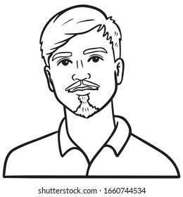 young man with goatee and mustache. avatar, outline, head, emotions, vector illustration.