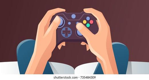 Young Man Hands Holding Video game console. Vector illustration