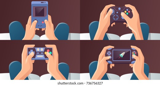 Young Man Hands Holding Video game consoles. Vector illustration