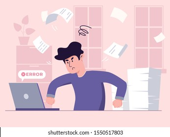 Young man has work stress because of critical error during important job task. Manager fighting with his laptop, his pile of papers is unchecked. Freelancer struggles to meet burning deadline concept.