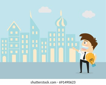 Young Man Having A Good Idea. Business Concept Illustration