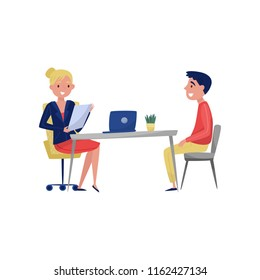 Young man having job interview with HR specialist, jobseeker and employer sitting at the table and talking vector Illustration on a white background