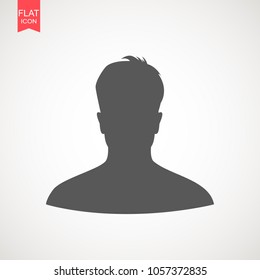 Young man head vector silhouette isolated on white background . Portrait of men in profile, isolated silhouette - vector illustration