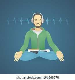 Young Man with Headphones Listening to Music Meditates