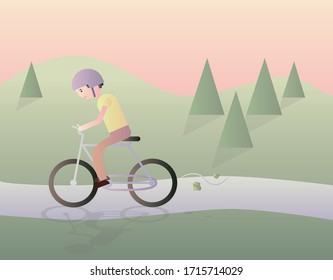 Young man in helmet riding bicycle outside in the park on the weekend, eco lifestyle, outdoor activities, spring weather. Cute vector illustration