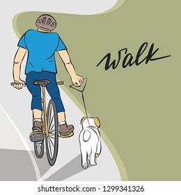 Young man in a helmet riding a bike along the road with white dog, running behind him. Friendship between man and dog. Spring and summer outdoor sport activity. Vector illustration in neutral colors
