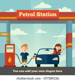 Young man helps girl to fuel her car. The Petrol station concept