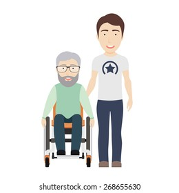 Young Man Helps His Disabled Grandpa on a Wheelchair. Vector Flat Illustration.