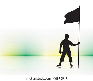 A young man holding a black flag with space of your text,  vector illustration, No mesh in this Vector