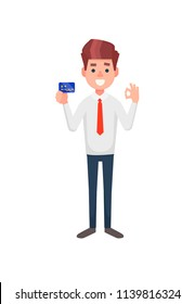 Young man is holding credit/debit card. Man is showing banking card.
