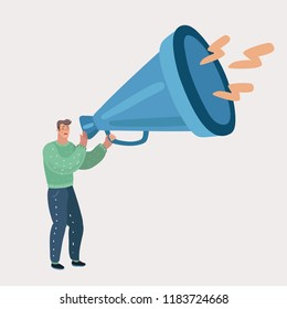 Young man holding in his hands in megaphone and screaming. Guy is shouting and screaming in bullhorn. Isolated on white background. Vector cartoon illustration in modern concept