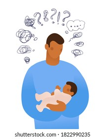 A young man holds a child in his arms and thinks. A man asks himself questions about caring for a child. Flat vector illustration isolated on white background