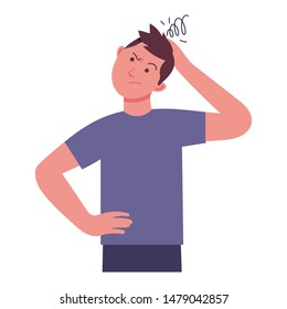 young man holds his head because he feels confused, the expression of a man who feels complicated, character vector illustration design