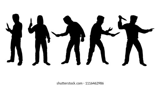 Young man in hooded sweatshirt with knife for robbery silhouette vector set
