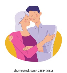 young man hug her old mother with love, mother and son love as family, mother's day concept media
