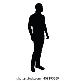 Young man in jeans and sweater stands and looks around. Vector isolated silhouette of standing slender, handsome man. Slim tall sports figure, rolled up sleeves, upright stance