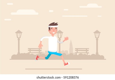 Young man jogging in the park does. Vector illustration in a flat style