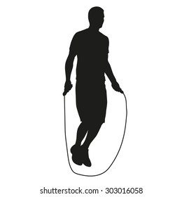 Young man jumping rope. Vector silhouette of an athlete in training