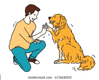 Young man, kneel down, giving high five with Golden Retriever dog. Outline, linear, thin line art, hand drawn sketch design.
