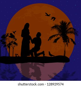 A young man  kneel and woo the girl in beautiful landscape silhouette, vector illustration