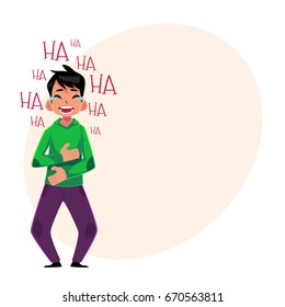 Young man laughing out loud, crying from laughter holding stomach, cartoon vector illustration with space for text. Full length portrait of young man bursting with laughter, laughing to tears