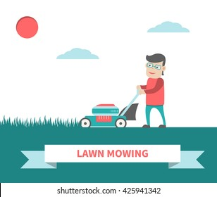 Young man with lawn mower cutting grass. Backyard jobs. Gardener mows green grass. Vector art. Flat design isolated on white. For advertising, web-design, blogs, social media and promotional materials