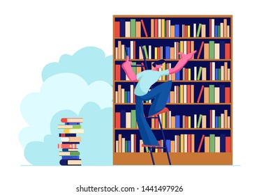 Young Man in Library Searching Books on Shelves Standing on Ladder. Student Prepare for Exam, Bookworm, Spend Time in Athenaeum Room, Characters in Literature Storage. Cartoon Flat Vector Illustration