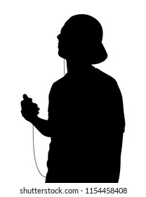 Young man listen to music silhouette vector. Person concept.