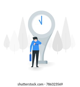 Young man look at his watch and waiting for someone vector illustration with flat design concept.