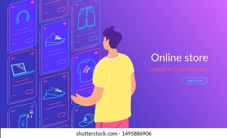 Young man looking at ecommerce favorite items cards, doing shopping, enjoying online services and networks. Gradient line vector illustration of user interface, user experience and mobile apps usage