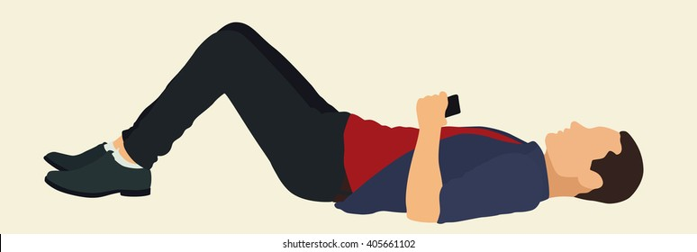 Young Man Lying on Flat Surface with Knees Bent