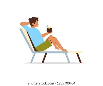 young man lying on sun lounger holding coconut cocktail summer vacation concept flat isolated